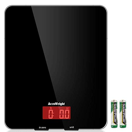 Accuweight Digital Multifunction Food Meat Scale with LCD Display Perfect for Baking Kitchen Cooking, 11lb Capacity by 0.1oz, Tempered Glass surface, Black by Accuweight