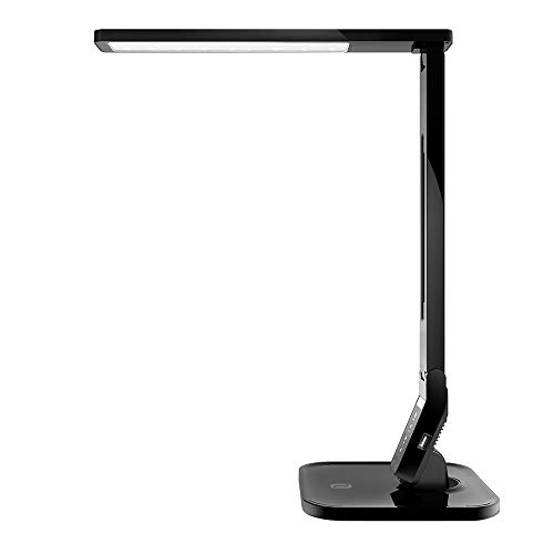 TaoTronics 14W LED Desk Lamp with USB Charging Port, Touch Control, 4 Lighting Mode with 5 Brightness Levels, Timer, Memory Function Black