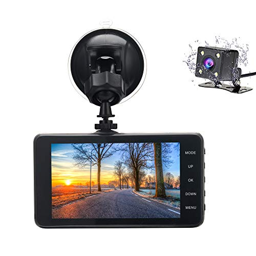 Veoker DashCam, Dash Cam,Dual Lens Dashboard Camera Recorder, 1080P FHD, 4' LCD Screen,Night Vision, 170° Wide-Angle View, G-Sensor, WDR, Loop Recording Night Mode