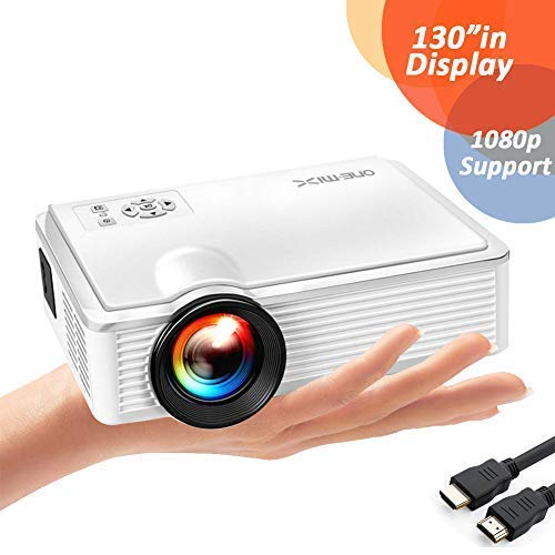 ONE-MIX Proyector Portátil, Mini HD Projector Multimedia 1080P, 2400 Lúmenes LED Video Proyector para Home Cinema Teatro soporta USB/TF/HDMI/AV Port