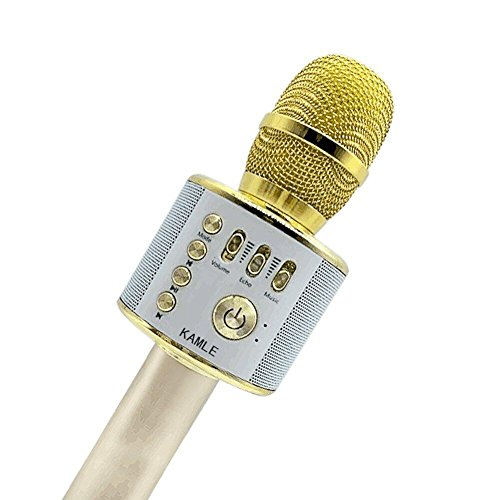 KAMLE Micrófono Inalámbrico de Bluetooth Micrófono Karaoke Player Micrófono Color Gold para KTV Karaoke Player Compatible con PC/iPhone/Android/Smartphone
