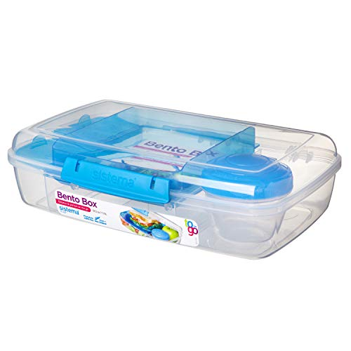 Sistema 21671 To Go Collection - Caja Bento, Transparente con Colores Varios, 1.76 l