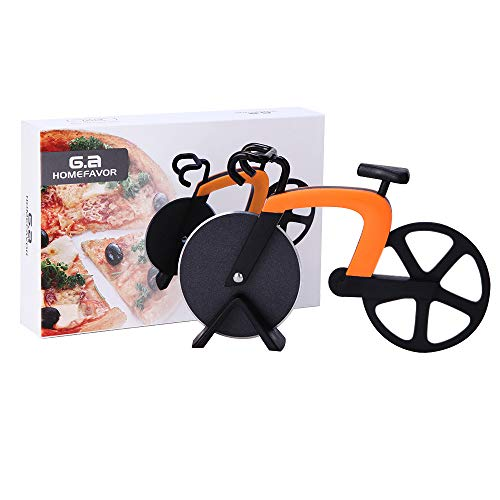 GA Homefavor Bicycle Pizza Cutter, Stainless Steel Blades with Non-stick Coating Pizza Tool, Serveware Features Working Kick-stand by GA Homefavor
