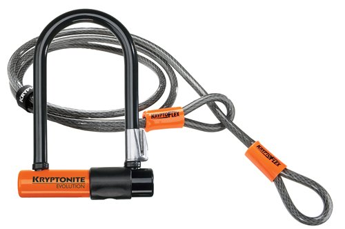 Kryptonite Evolution Mini-7 con 4' Flex Cable Candado en U para bicicleta