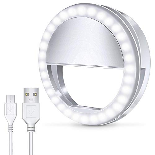 Meifigno Selfie Phone Camera Ring Light with [Rechargable] 36 LED Light, 3-Level Adjustable Brightness On-Camera Video Lights Clips On Night Makeup Light for iPhone iPad Sumsung Galaxy Photography