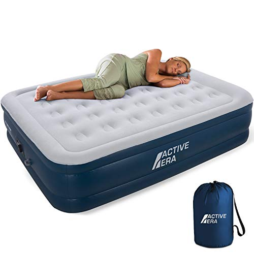 Active Era Premium Queen Size Air Mattress - Elevated Inflatable Air Bed, Electric Built-in Pump, Raised Pillow & Structured Air-Coil Technology, Height 20'