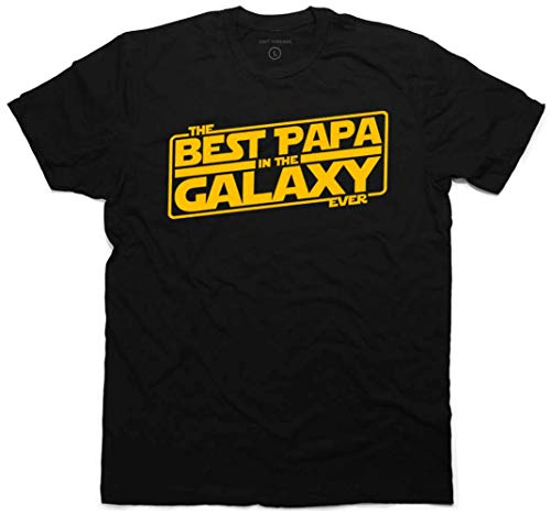 Best Papa In The Galaxy Ever - playera para hombre, diseño con texto en inglés'New Father's Day Gift for Dad', Negro, XX-Large