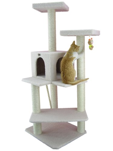 ARMARKAT Cat Tree Furniture Condo, Height -50-Inch to 60-Inch, Ivory, 28'(L) X25(W) X57(H)