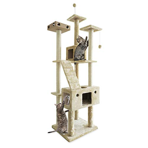 Furhaven Tiger Tough Cat Tree House Furniture for Cats and Kittens, Double Decker Playground, Cream
