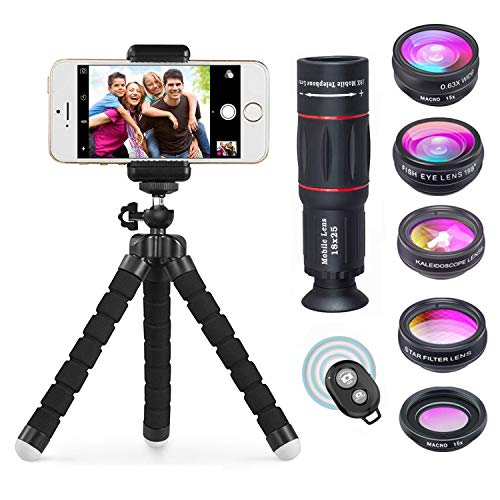 APEXEL Phone Camera Lens with 18x Telephoto Lens+Fisheye,Macro/Wide Angle Lens+Star,Kaleidoscope Filter+Tripod and Shutter 8 in 1 Cell Phone Lens Kit for iPhone and other Smartphone