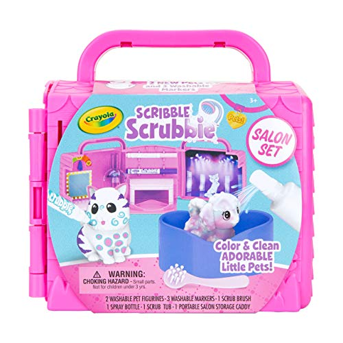 CRAYOLA Scribble Scrubbie Pets, Beauty Salon Playset with Toy Pets, Gift for Kids 74-7304, Multi