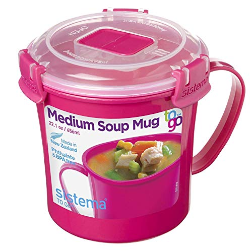Sistema To Go Collection Microwave Soup Mug, 22 oz, Pink