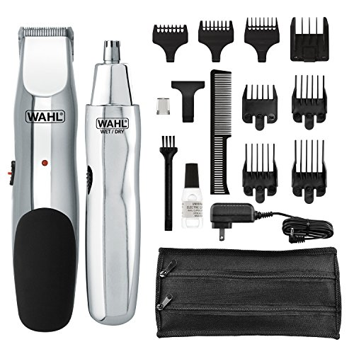 Wahl Groomsman rechargeable beard trimmer for beard, mustache, stubble with self sharpening blades and bonus nose trimmer (# 05622)
