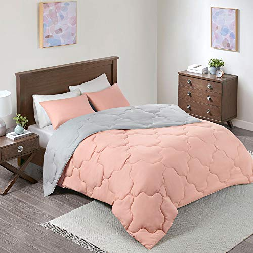 Comfort Spaces Vixie 3 Piece Comforter Set All Season Reversible Goose Down Alternative Stitched Geometrical Pattern Bedding, Full/Queen Size Coral/Grey